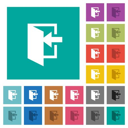 Enter multi colored flat icons on plain square backgrounds. Included white and darker icon variations for hover or active effects. Ilustração