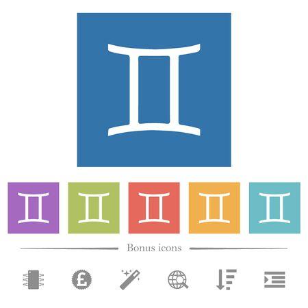 Gemini zodiac symbol flat white icons in square backgrounds. 6 bonus icons included.