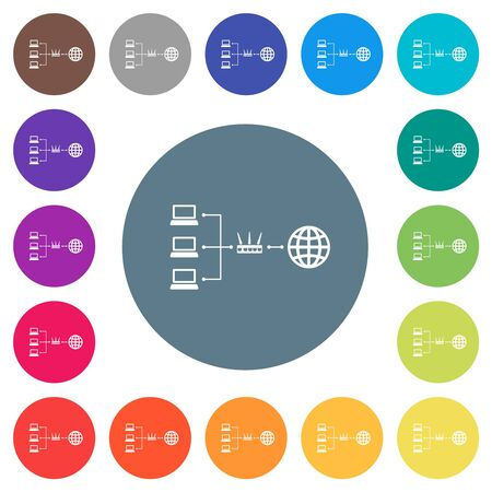 Network address translation flat white icons on round color backgrounds. 17 background color variations are included.