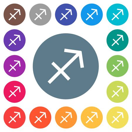 Sagittarius zodiac symbol flat white icons on round color backgrounds. 17 background color variations are included.