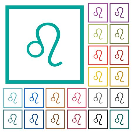 Leo zodiac symbol flat color icons with quadrant frames on white background