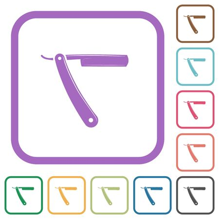 Straight razor simple icons in color rounded square frames on white background
