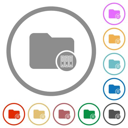 Archive directory flat color icons in round outlines on white background