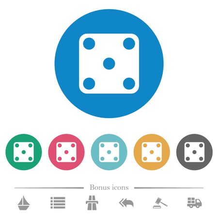 Domino five flat white icons on round color backgrounds. 6 bonus icons included.