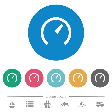 Speedometer flat white icons on round color backgrounds. 6 bonus icons included.