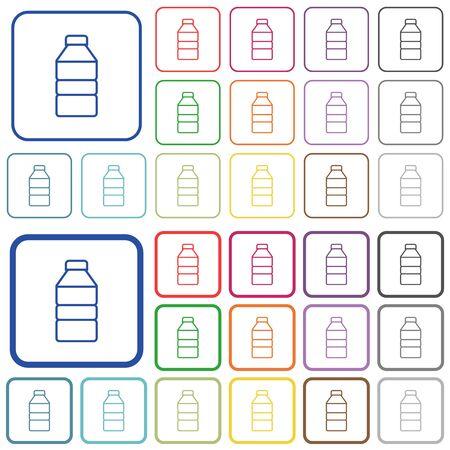 Flache Symbole der Wasserflasche in abgerundeten quadratischen Rahmen. Dünne und dicke Versionen enthalten. Vektorgrafik