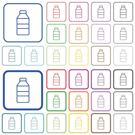 Icônes plates de couleur de bouteille d'eau dans des cadres carrés arrondis. Versions fines et épaisses incluses. Vecteurs