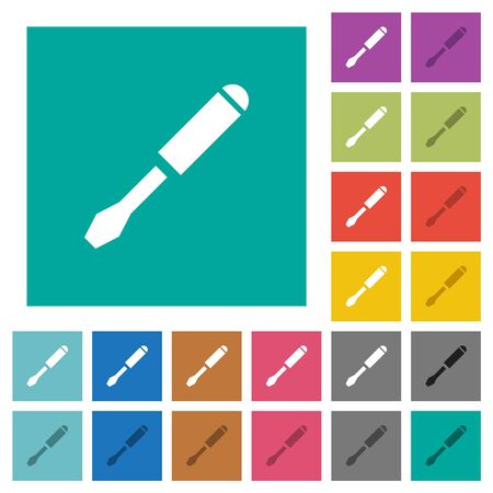Single screwdriver multi colored flat icons on plain square backgrounds. Included white and darker icon variations for hover or active effects.