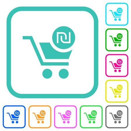 Checkout with new Shekel cart vivid colored flat icons in curved borders on white background