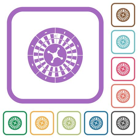 Roulette wheel simple icons in color rounded square frames on white background Ilustração