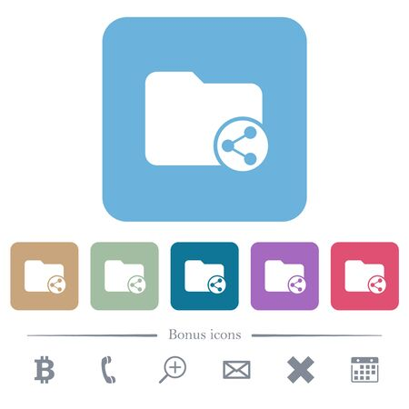 Share directory white flat icons on color rounded square backgrounds Ilustrace
