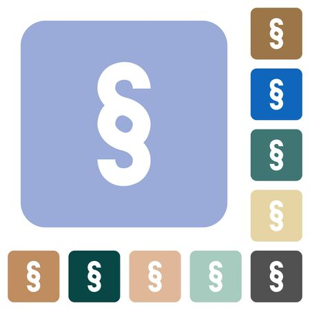 Paragraph symbol white flat icons on color rounded square backgrounds