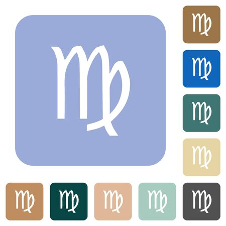 virgo zodiac symbol white flat icons on color rounded square backgrounds Ilustração
