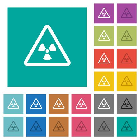 Nuclear warning multi colored flat icons on plain square backgrounds. Included white and darker icon variations for hover or active effects.