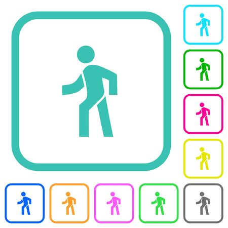 Man walking left vivid colored flat icons in curved borders on white background