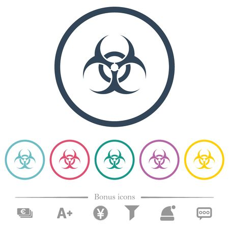 Biohazard sign flat color icons in round outlines. 6 bonus icons included. Imagens - 128568064