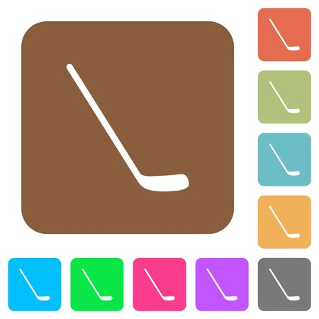 Ice hockey stick flat icons on rounded square vivid color backgrounds. Ilustração