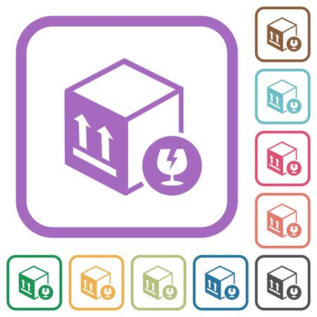 Fragile package simple icons in color rounded square frames on white background Illustration