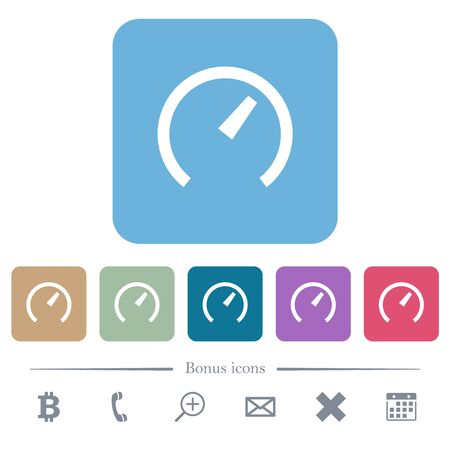 Speedometer white flat icons on color rounded square backgrounds. 6 bonus icons included Ilustração