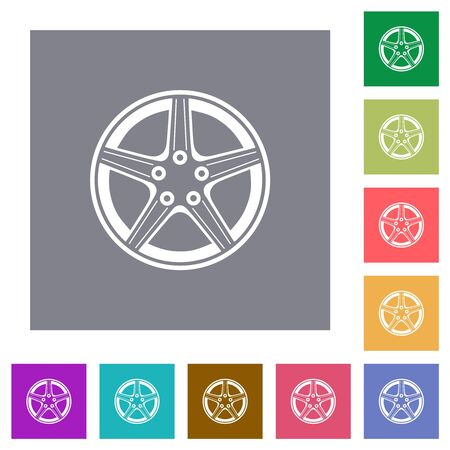 Alloy wheel flat icons on simple color square backgrounds Ilustração