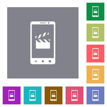 Smartphone film cut flat icons on simple color square backgrounds