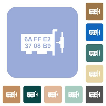 Network mac address white flat icons on color rounded square backgrounds