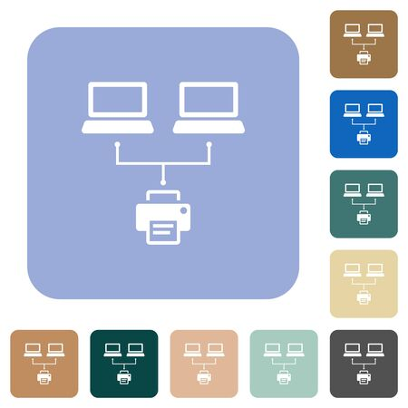 Network printing white flat icons on color rounded square backgrounds