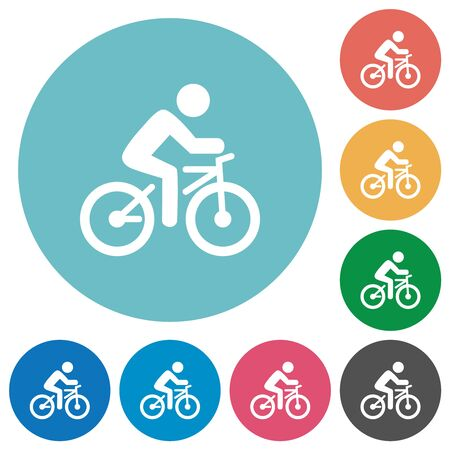Bicycle with rider flat white icons on round color backgrounds Ilustração