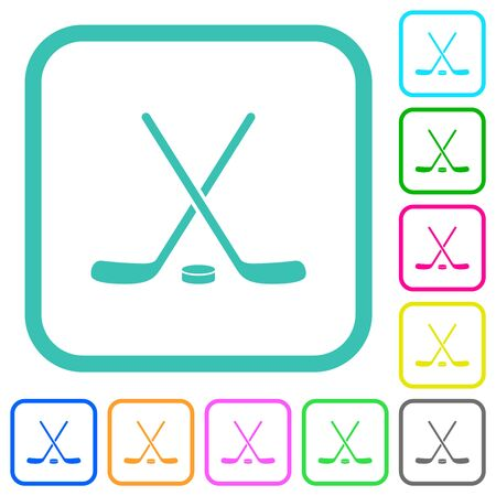 Hockey sticks with puck vivid colored flat icons in curved borders on white background