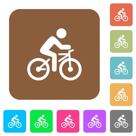 Bicycle with rider flat icons on rounded square vivid color backgrounds.