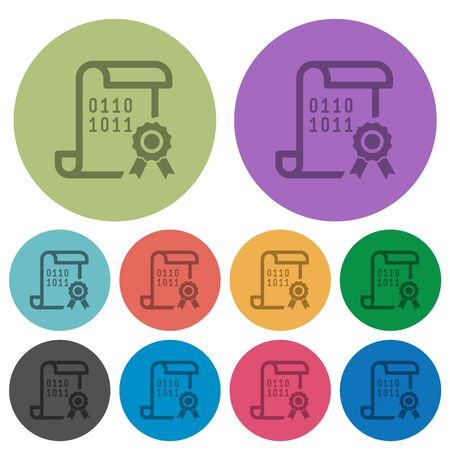 Digital certificate darker flat icons on color round background