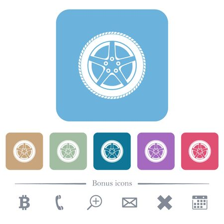 Car wheel white flat icons on color rounded square backgrounds. 6 bonus icons included