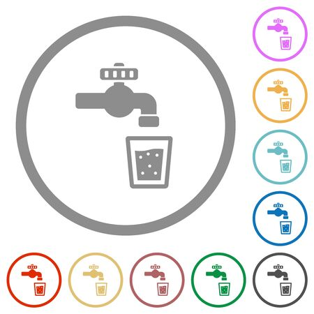 Drinking water flat color icons in round outlines on white background Stock Illustratie