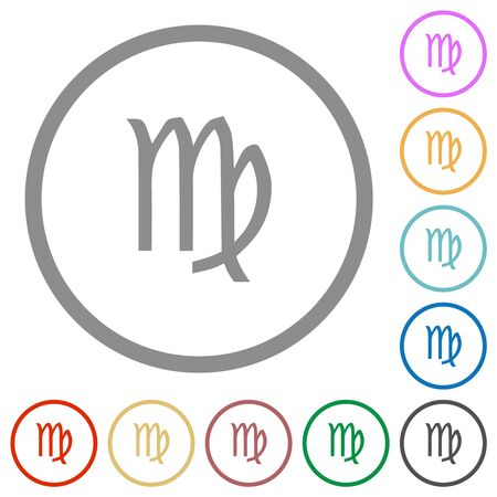 virgo zodiac symbol flat color icons in round outlines on white background 일러스트