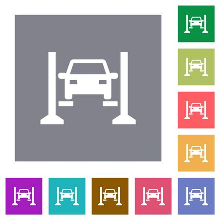 Car service flat icons on simple color square backgrounds