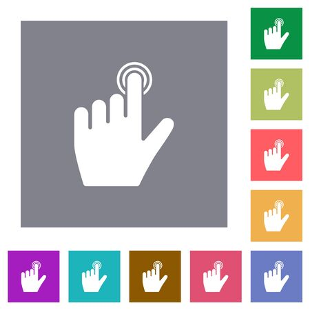 left handed clicking gesture flat icons on simple color square backgrounds Çizim