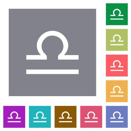 libra zodiac symbol flat icons on simple color square backgrounds Çizim