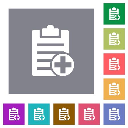 Add new note flat icons on simple color square backgrounds