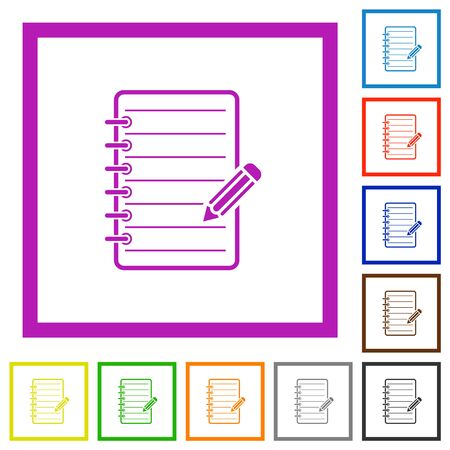 Spiral notepad with pencil flat color icons in square frames on white background Çizim