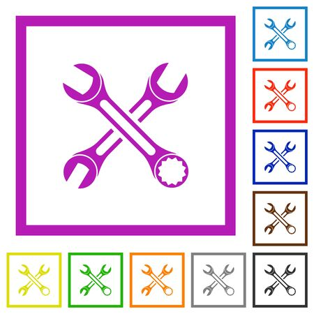 Two wrenches flat color icons in square frames on white background Çizim