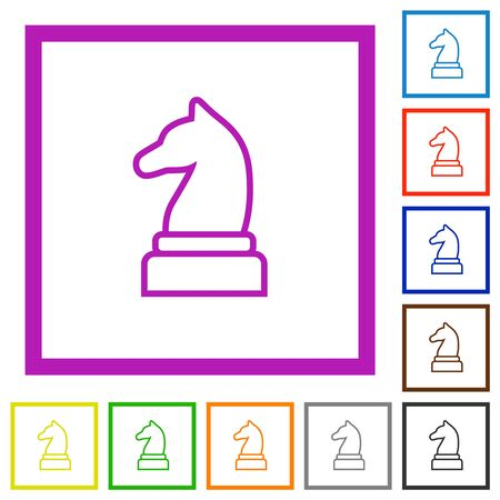 White chess knight flat color icons in square frames on white background Çizim