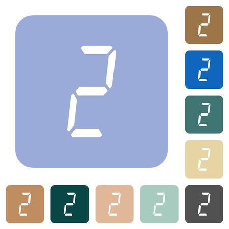 digital number two of seven segment type white flat icons on color rounded square backgrounds