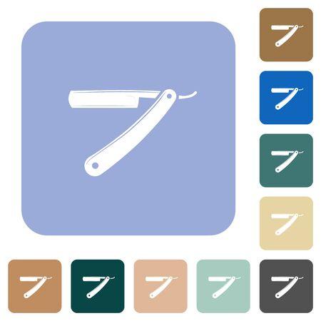 Straight razor white flat icons on color rounded square backgrounds Çizim