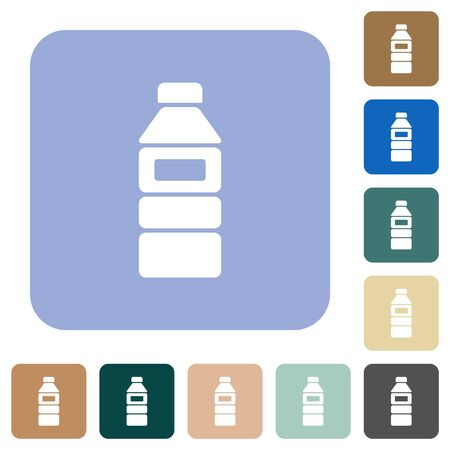 Water bottle with label white flat icons on color rounded square backgrounds Çizim