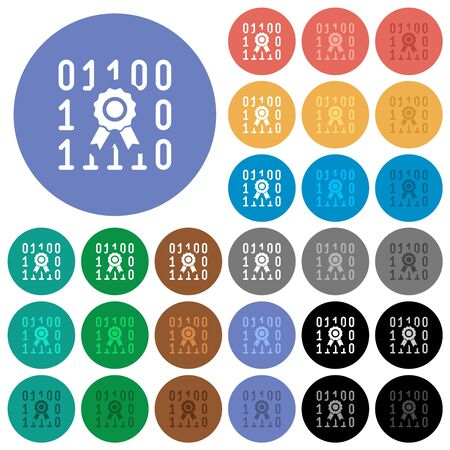 Digital certificate multi colored flat icons on round backgrounds. Included white, light and dark icon variations for hover and active status effects, and bonus shades.