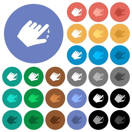 Left handed pinch close gesture multi colored flat icons on round backgrounds. Included white, light and dark icon variations for hover and active status effects, and bonus shades.