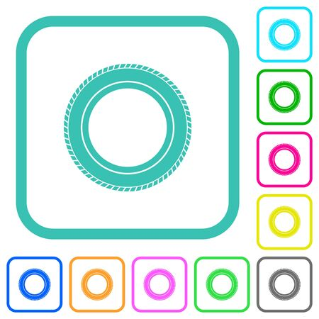 Car tire vivid colored flat icons in curved borders on white background