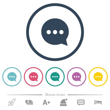 Working chat flat color icons in round outlines. 6 bonus icons included.