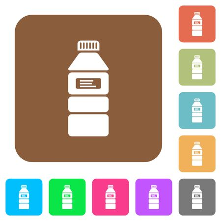Water bottle with label flat icons on rounded square vivid color backgrounds. Illustration