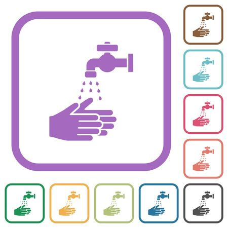 Hand washing simple icons in color rounded square frames on white background